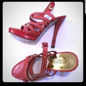 """Red studded 5"""" heels strappy"""
